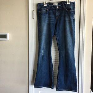 BKE Element Stretch Destroyed Denim Jeans Flare-33